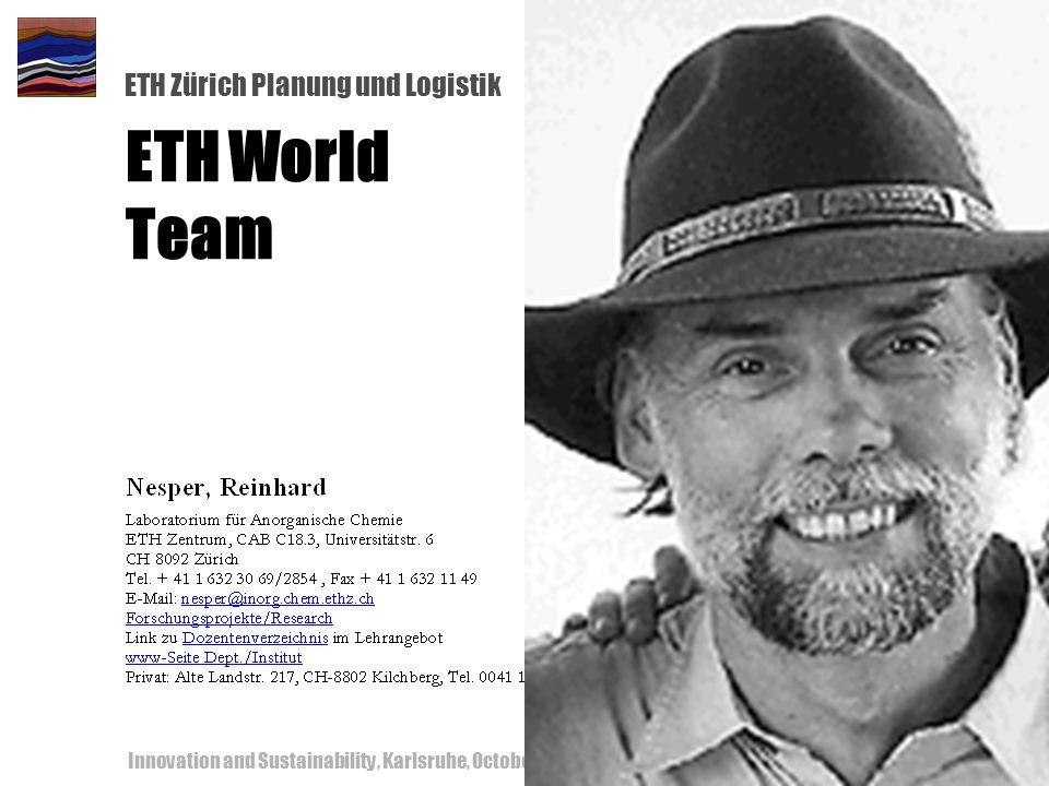 ETH Zürich Planung und Logistik Innovation and Sustainability, Karlsruhe, October 18-19, 200056 ETH World Team