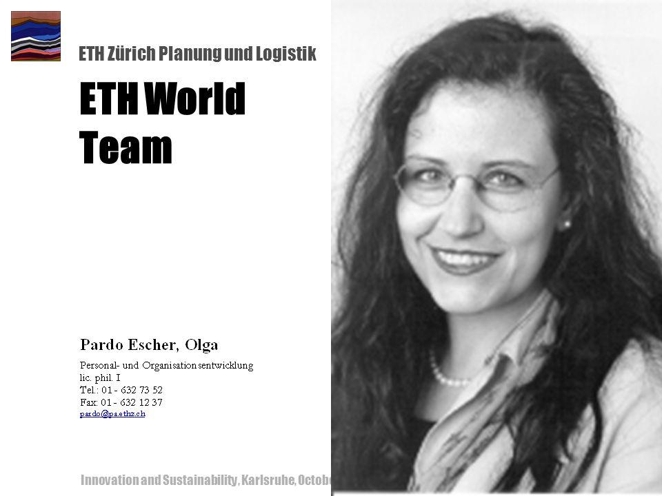 ETH Zürich Planung und Logistik Innovation and Sustainability, Karlsruhe, October 18-19, 200057 ETH World Team