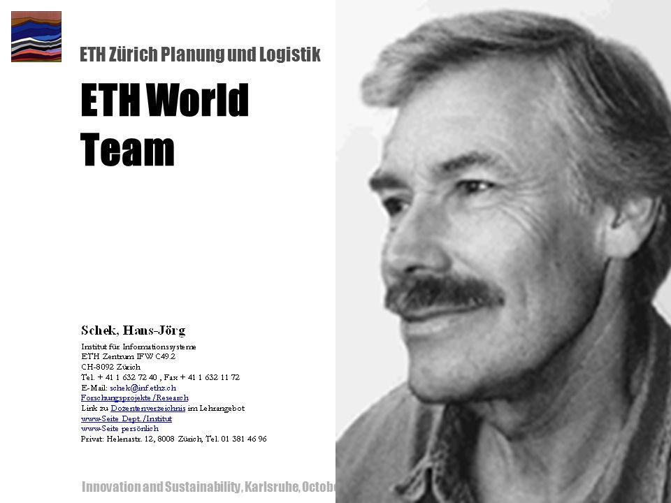 ETH Zürich Planung und Logistik Innovation and Sustainability, Karlsruhe, October 18-19, 200060 ETH World Team