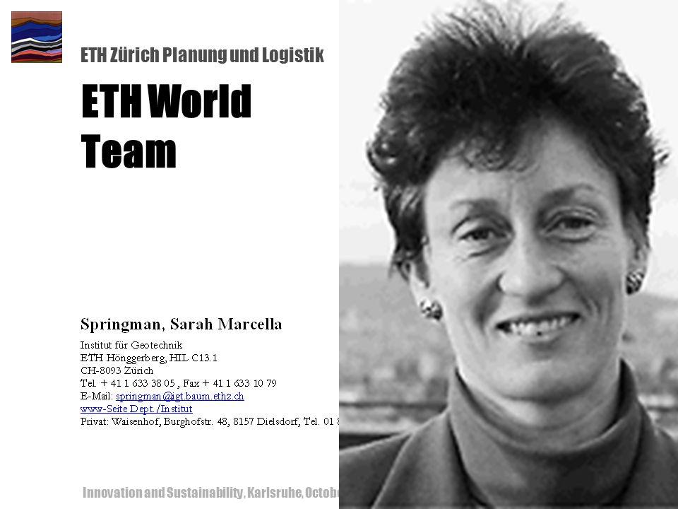 ETH Zürich Planung und Logistik Innovation and Sustainability, Karlsruhe, October 18-19, 200062 ETH World Team