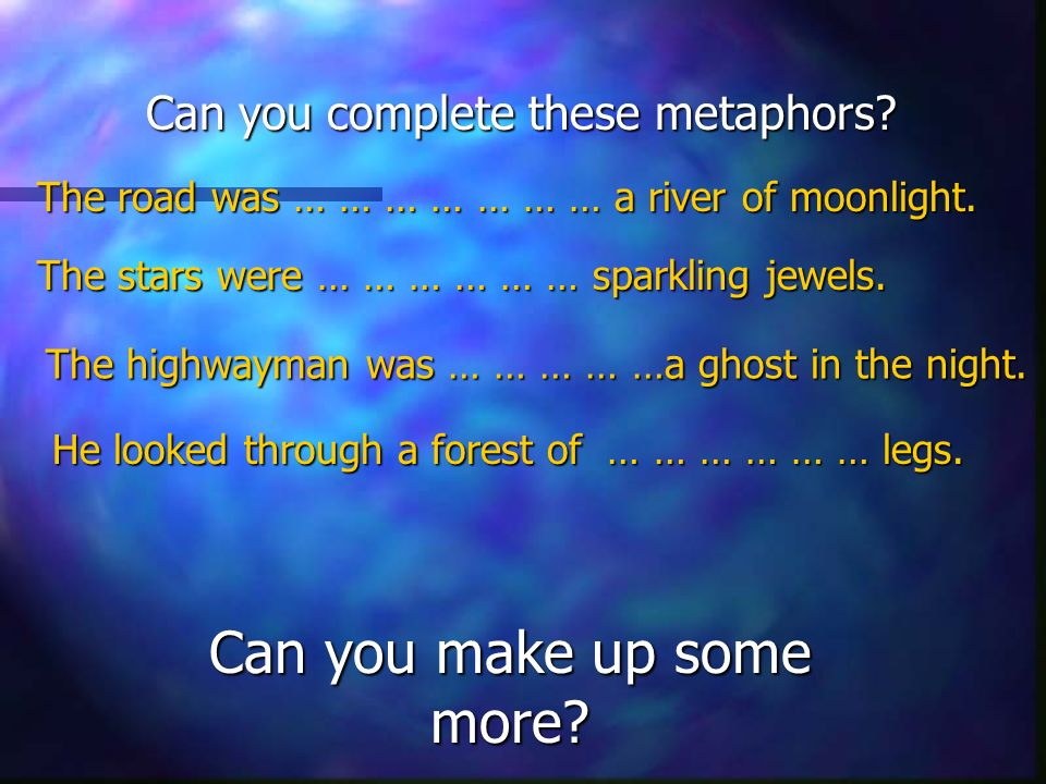 Can you complete these metaphors. The road was … … … … … … … a river of moonlight.