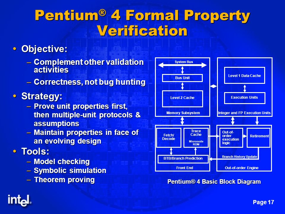 Page 17 Pentium ® 4 Formal Property Verification Pentium® 4 Basic Block Diagram System Bus Bus Unit Level 2 Cache Memory Subsystem Level 1 Data Cache