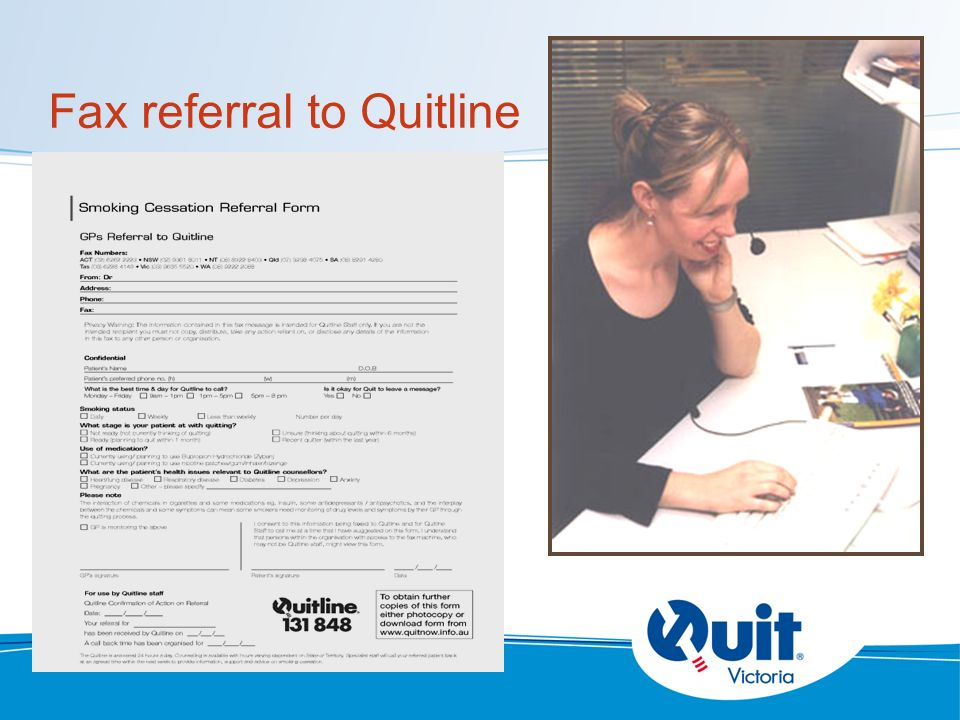 Fax referral to Quitline