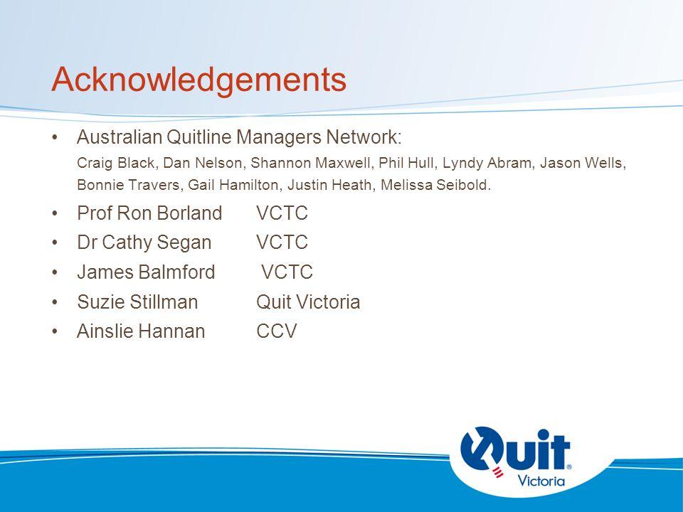 Acknowledgements Australian Quitline Managers Network: Craig Black, Dan Nelson, Shannon Maxwell, Phil Hull, Lyndy Abram, Jason Wells, Bonnie Travers, Gail Hamilton, Justin Heath, Melissa Seibold.