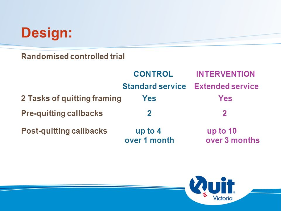Design: Randomised controlled trial CONTROL INTERVENTION Standard service Extended service 2 Tasks of quitting framing Yes Yes Pre-quitting callbacks 2 2 Post-quitting callbacks up to 4 up to 10 over 1 month over 3 months