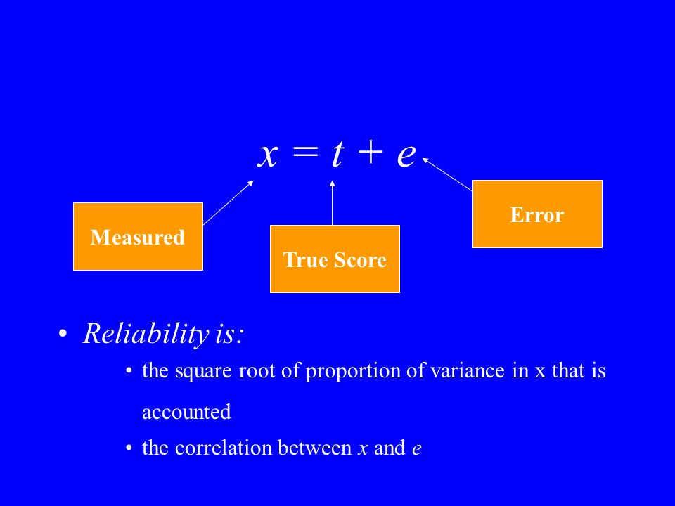 x = t + e Reliability is: the square root of proportion of variance in x that is accounted the correlation between x and e Measured True Score Error
