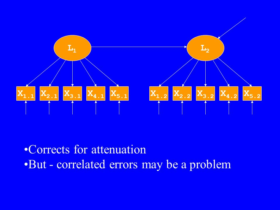 L1L1 X 3.1 X 4.1 X 5.1 X 2.1 X 1.1 L2L2 X 3.2 X 4.2 X 5.2 X 2.2 X 1.2 Corrects for attenuation But - correlated errors may be a problem