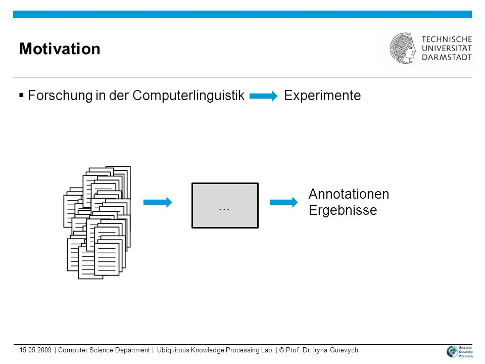 Motivation Forschung in der Computerlinguistik Experimente Annotationen Ergebnisse … 15.05.2009 | Computer Science Department | Ubiquitous Knowledge P