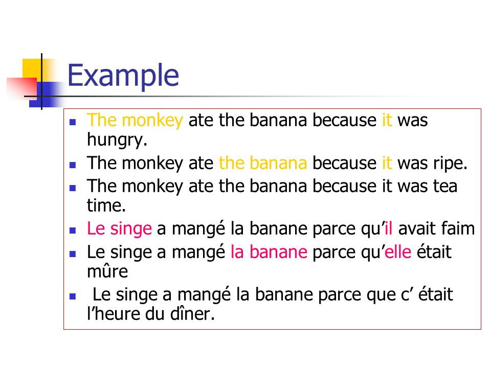 Example The monkey ate the banana because it was hungry.