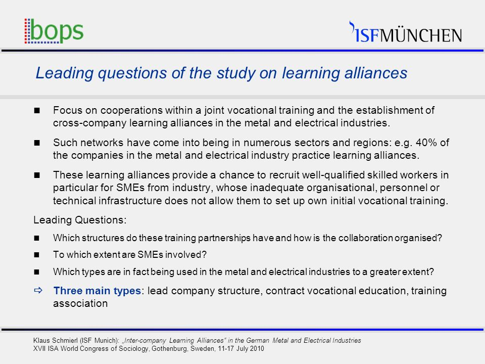 7 Klaus Schmierl (ISF Munich): Inter-company Learning Alliances in the German Metal and Electrical Industries XVII ISA World Congress of Sociology, Go