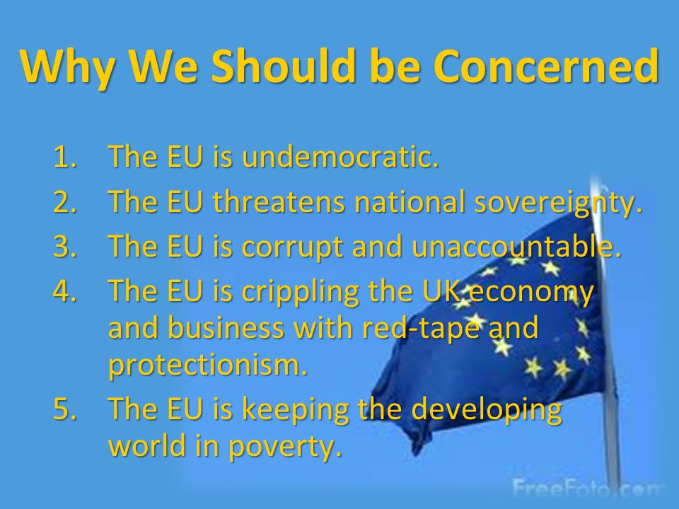 Why We Should be Concerned 1.The EU is undemocratic. 2.The EU threatens national sovereignty. 3.The EU is corrupt and unaccountable. 4.The EU is cripp