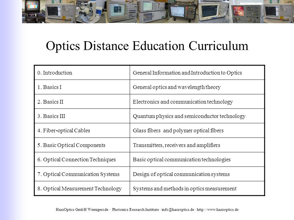 HarzOptics GmbH Wernigerode · Photonics Research Institute · info@harzoptics.de · http://www.harzoptics.de Optics Distance Education Curriculum 0.