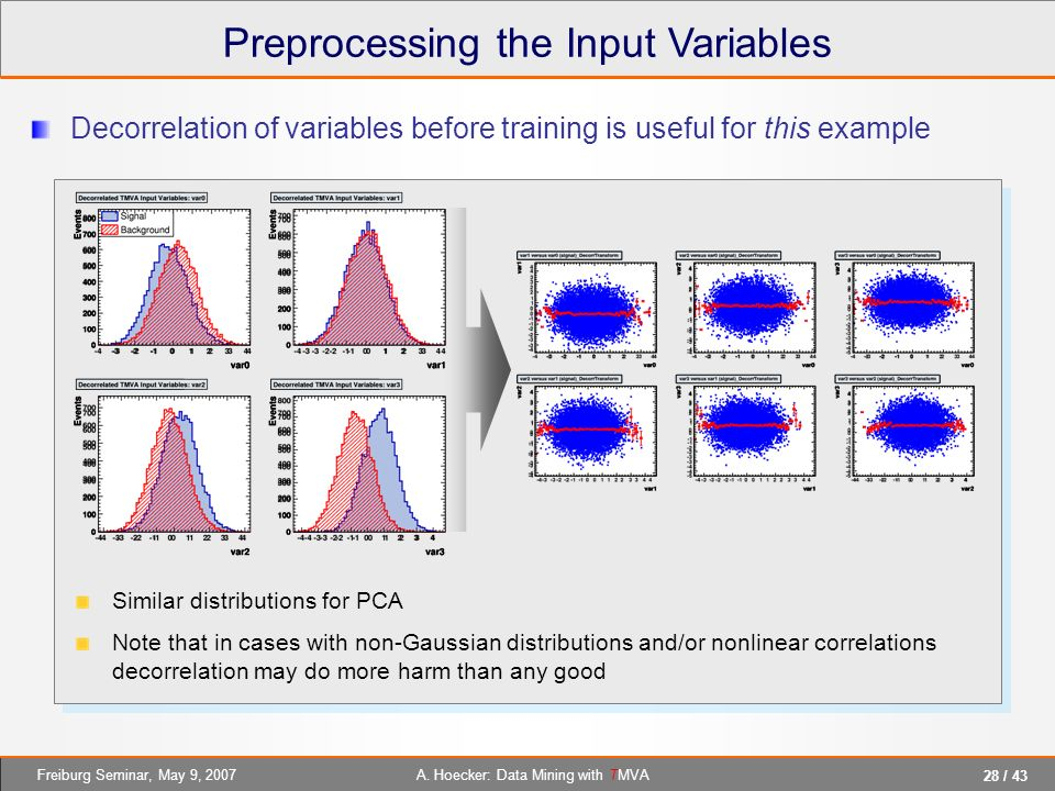 28 / 43 A. Hoecker: Data Mining with TMVAFreiburg Seminar, May 9, 2007 Preprocessing the Input Variables Decorrelation of variables before training is