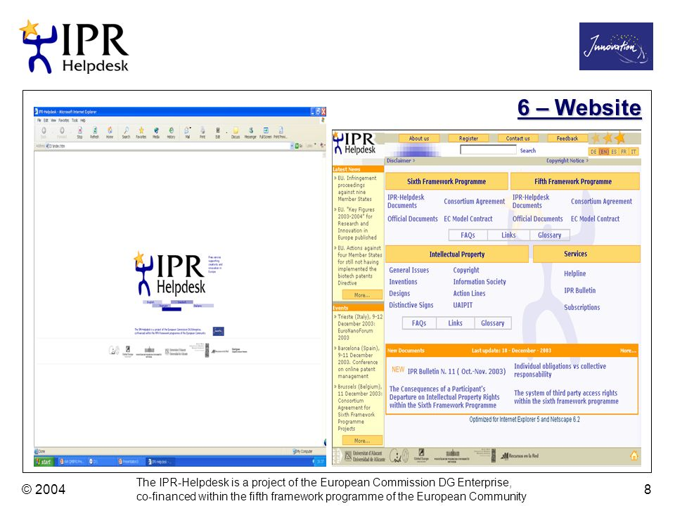 The IPR-Helpdesk is a project of the European Commission DG Enterprise, co-financed within the fifth framework programme of the European Community © 2004 8 6 – Website