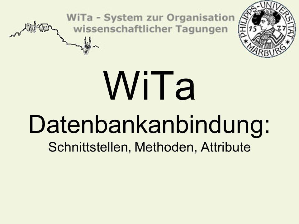 WiTa Datenbankanbindung: Schnittstellen, Methoden, Attribute