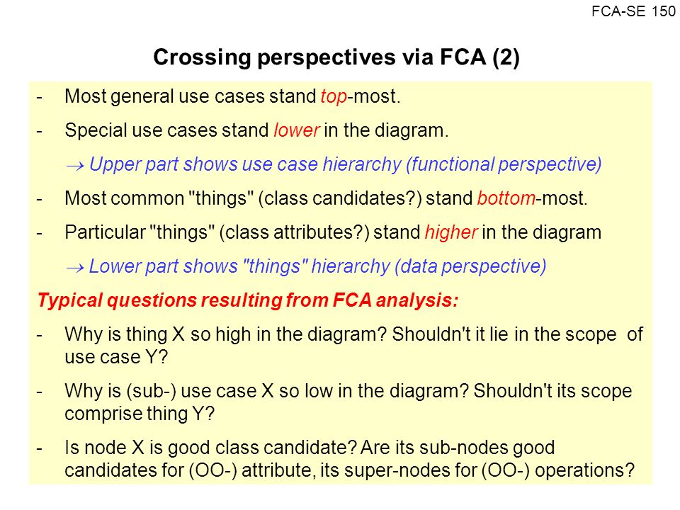 FCA-SE 150 -Most general use cases stand top-most. -Special use cases stand lower in the diagram. Upper part shows use case hierarchy (functional pers