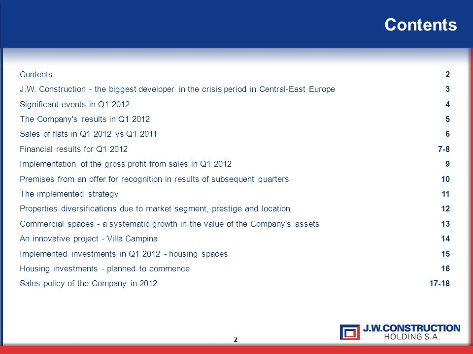 Contents 2 2 J.W. Construction - the biggest developer in the crisis period in Central-East Europe3 Significant events in Q1 20124 The Company's resul