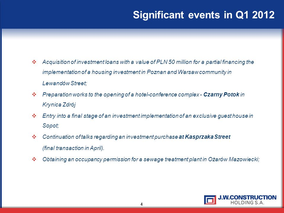 Significant events in Q1 2012 4 Acquisition of investment loans with a value of PLN 50 million for a partial financing the implementation of a housing