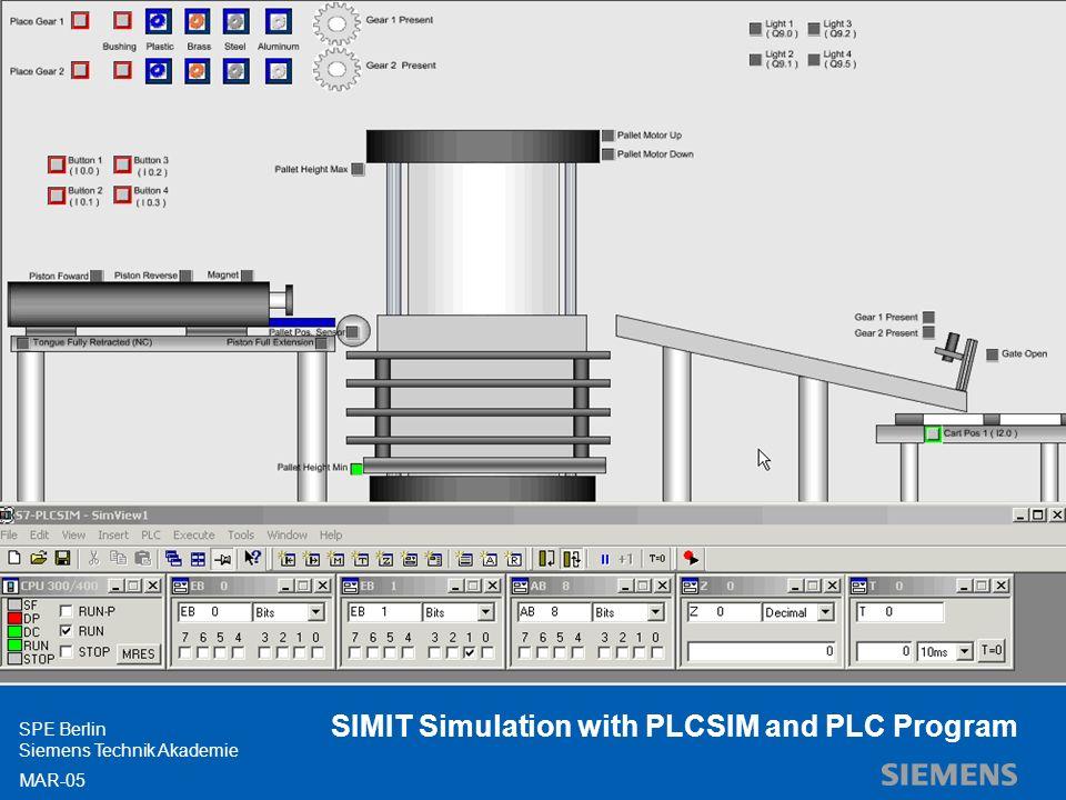 Siemens Professional Education SPE Berlin Siemens Technik Akademie MAR-05 SIMIT Simulation with PLCSIM and PLC Program