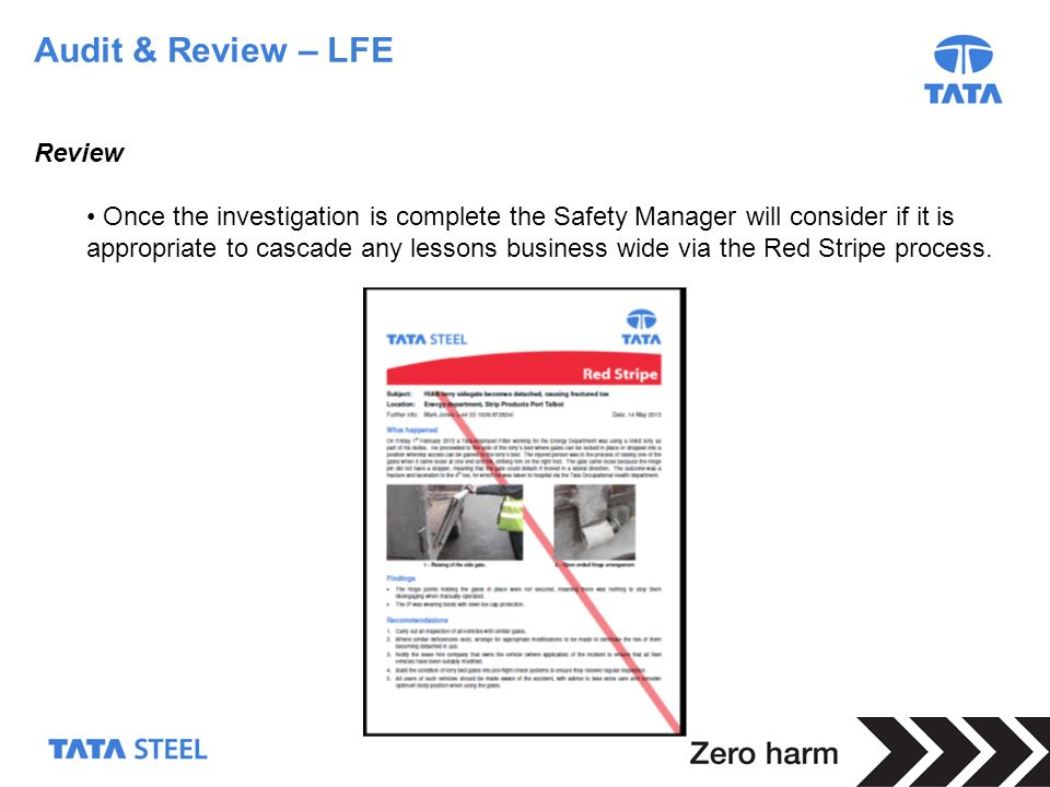 28 Audit & Review – LFE Review Once the investigation is complete the Safety Manager will consider if it is appropriate to cascade any lessons busines