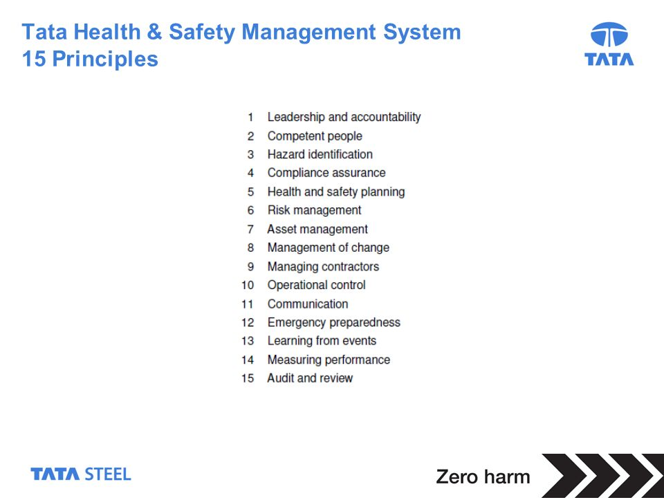 3 Tata Health & Safety Management System 15 Principles