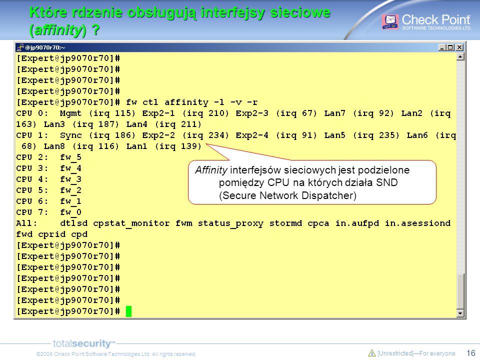 16 [Unrestricted]For everyone ©2009 Check Point Software Technologies Ltd. All rights reserved. Które rdzenie obsługują interfejsy sieciowe (affinity)