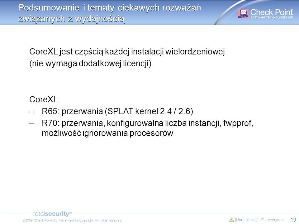 19 [Unrestricted]For everyone ©2009 Check Point Software Technologies Ltd. All rights reserved. Podsumowanie i tematy ciekawych rozważań związanych z