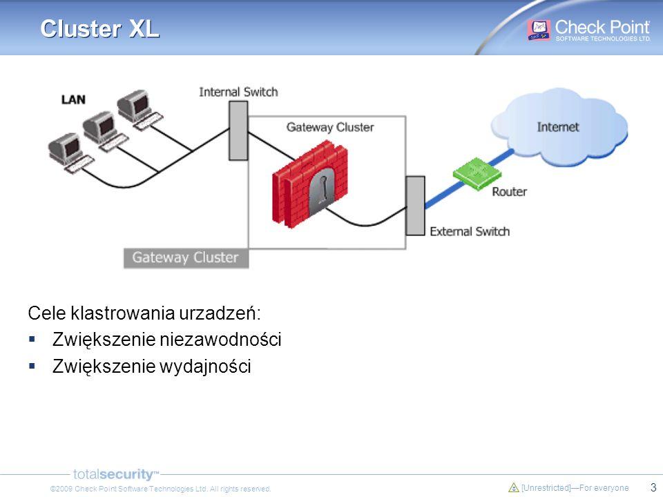 3 [Unrestricted]For everyone ©2009 Check Point Software Technologies Ltd. All rights reserved. Cluster XL Cele klastrowania urzadzeń: Zwiększenie niez