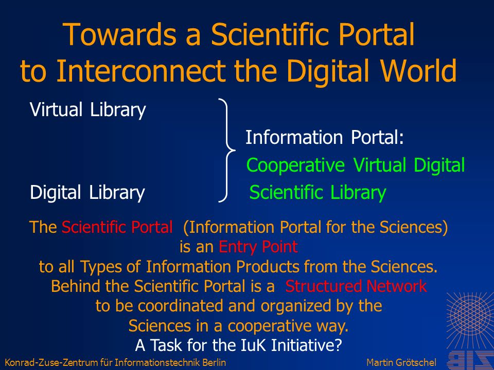 Konrad-Zuse-Zentrum für Informationstechnik BerlinMartin Grötschel Towards a Scientific Portal to Interconnect the Digital World Virtual Library Information Portal: Cooperative Virtual Digital Digital Library Scientific Library The Scientific Portal (Information Portal for the Sciences) is an Entry Point to all Types of Information Products from the Sciences.