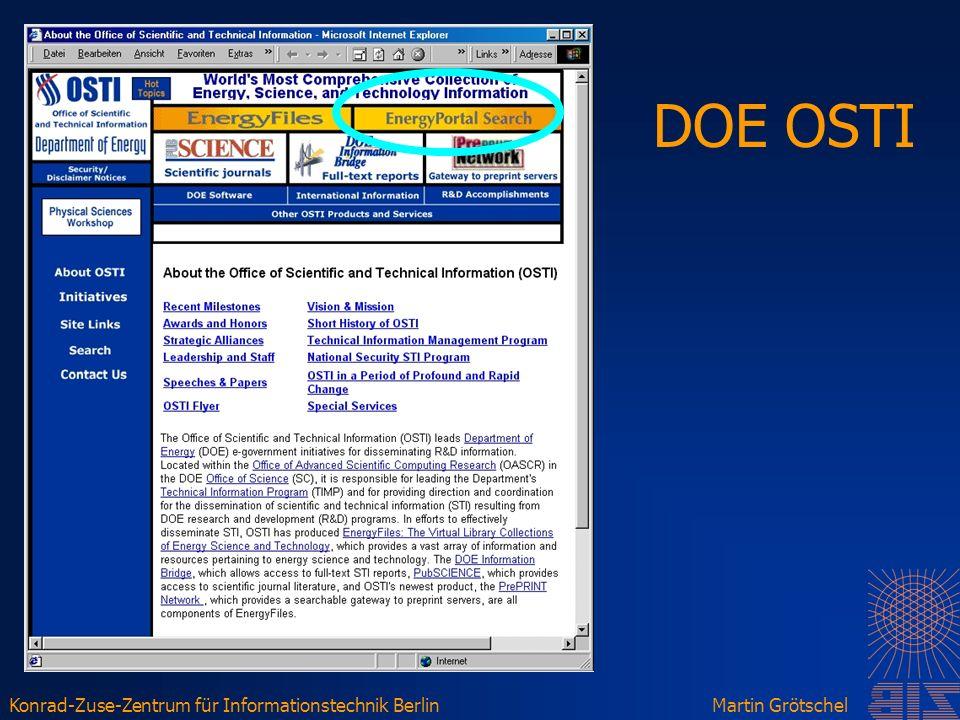 Konrad-Zuse-Zentrum für Informationstechnik BerlinMartin Grötschel DOE OSTI