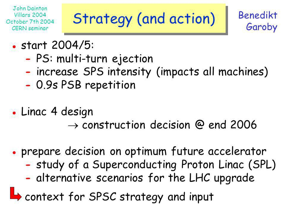 John Dainton Villars 2004 October 7th 2004 CERN seminar Strategy (and action) Benedikt Garoby start 2004/5: - PS: multi-turn ejection - increase SPS i