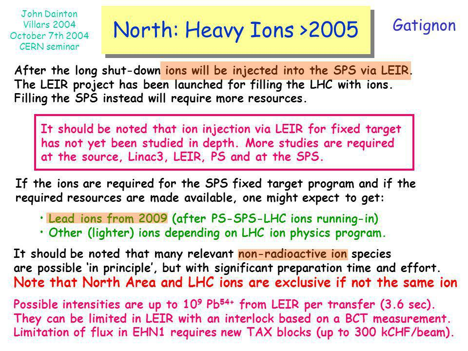 John Dainton Villars 2004 October 7th 2004 CERN seminar North: Heavy Ions >2005 After the long shut-down ions will be injected into the SPS via LEIR.