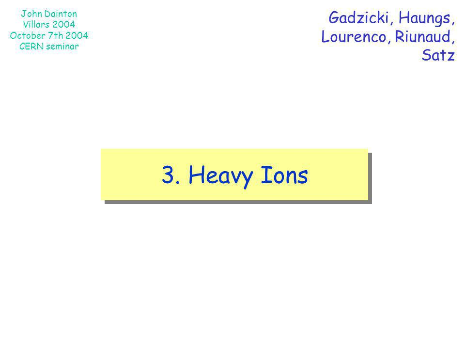John Dainton Villars 2004 October 7th 2004 CERN seminar 3. Heavy Ions Gadzicki, Haungs, Lourenco, Riunaud, Satz