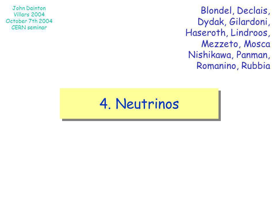 John Dainton Villars 2004 October 7th 2004 CERN seminar 4. Neutrinos Blondel, Declais, Dydak, Gilardoni, Haseroth, Lindroos, Mezzeto, Mosca Nishikawa,