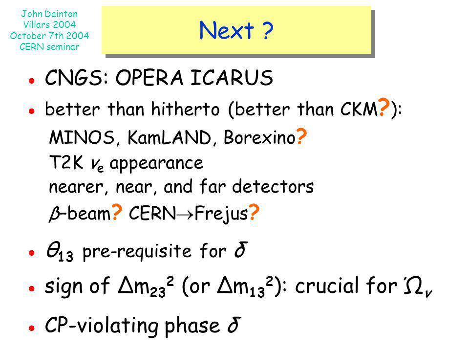 John Dainton Villars 2004 October 7th 2004 CERN seminar Next ? CNGS: OPERA ICARUS better than hitherto (better than CKM ? ): MINOS, KamLAND, Borexino