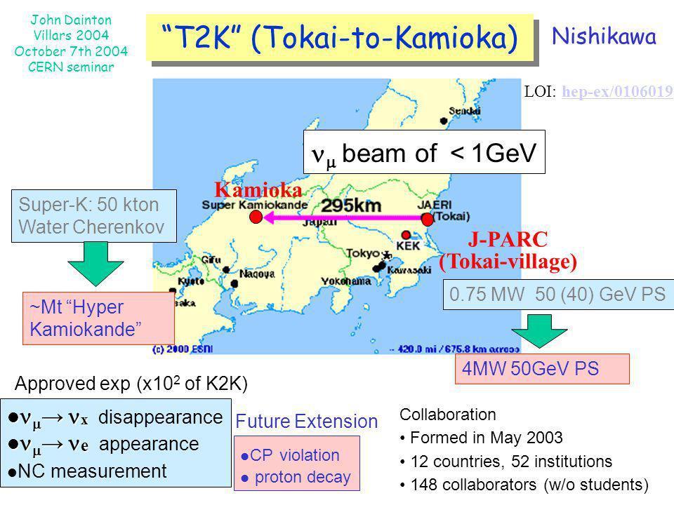 John Dainton Villars 2004 October 7th 2004 CERN seminar beam of 1GeV Kamioka J-PARC (Tokai-village) x x disappearance e e appearance NC measurement 0.