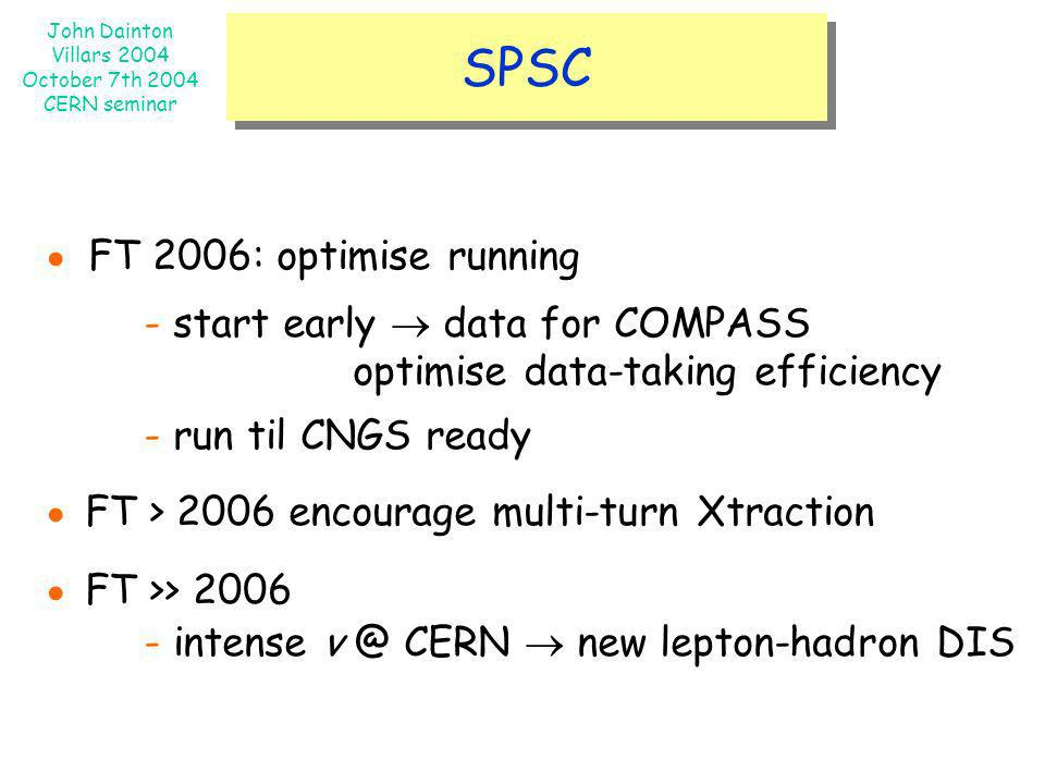 John Dainton Villars 2004 October 7th 2004 CERN seminar SPSC FT 2006: optimise running - start early data for COMPASS optimise data-taking efficiency