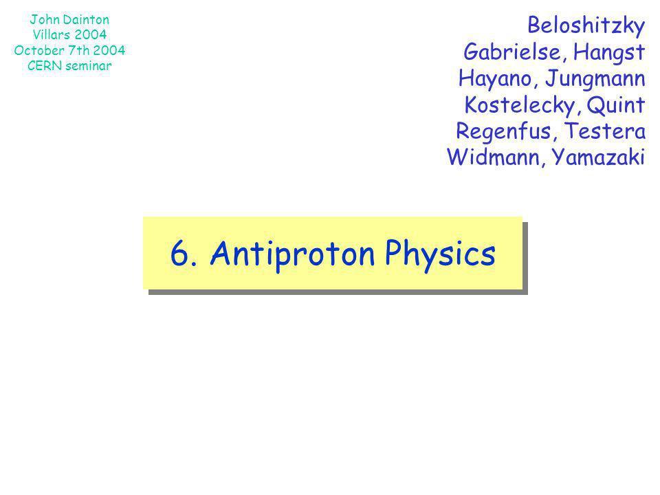 John Dainton Villars 2004 October 7th 2004 CERN seminar 6. Antiproton Physics Beloshitzky Gabrielse, Hangst Hayano, Jungmann Kostelecky, Quint Regenfu