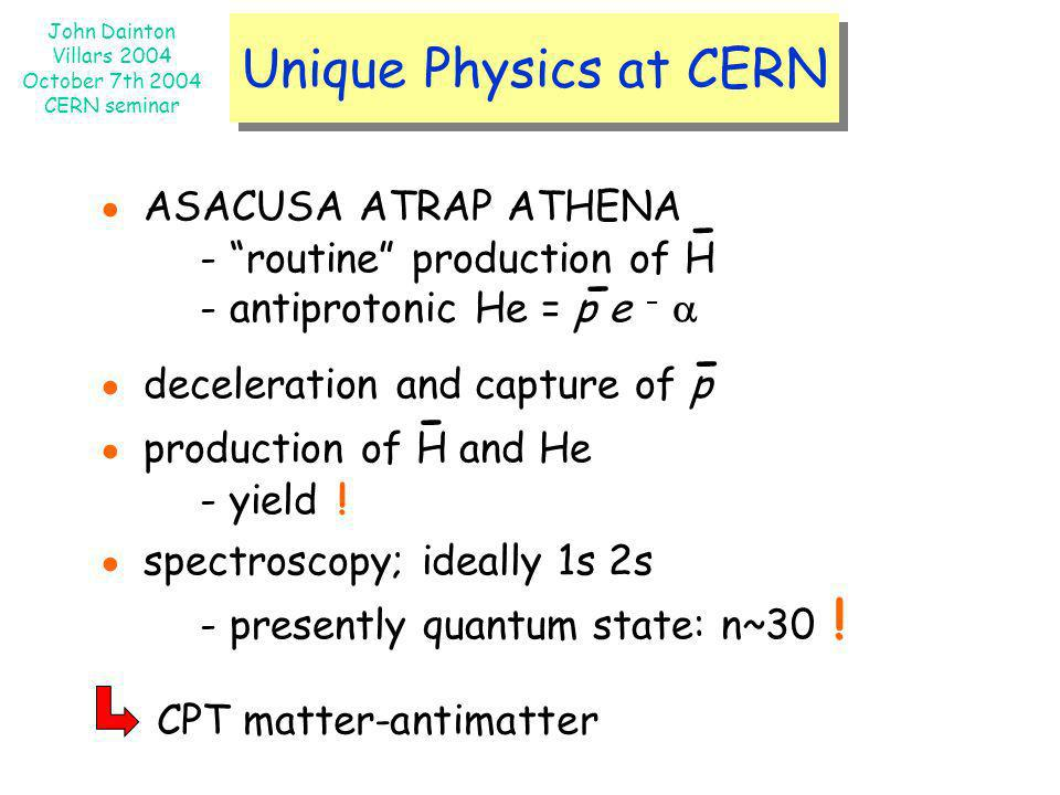 John Dainton Villars 2004 October 7th 2004 CERN seminar Unique Physics at CERN ASACUSA ATRAP ATHENA - routine production of H - antiprotonic He = p e