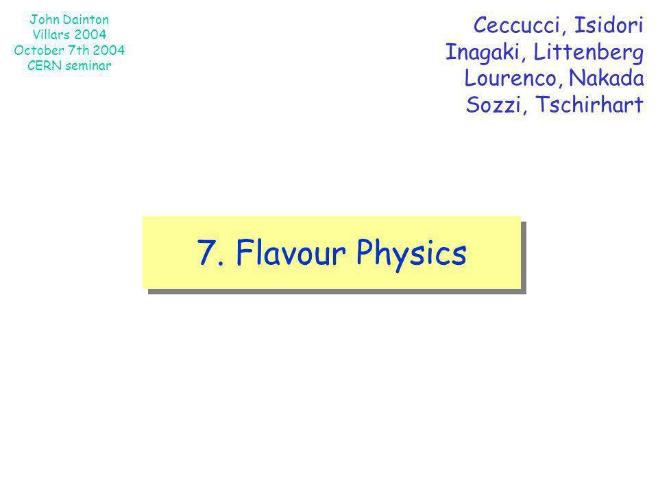 John Dainton Villars 2004 October 7th 2004 CERN seminar 7. Flavour Physics Ceccucci, Isidori Inagaki, Littenberg Lourenco, Nakada Sozzi, Tschirhart