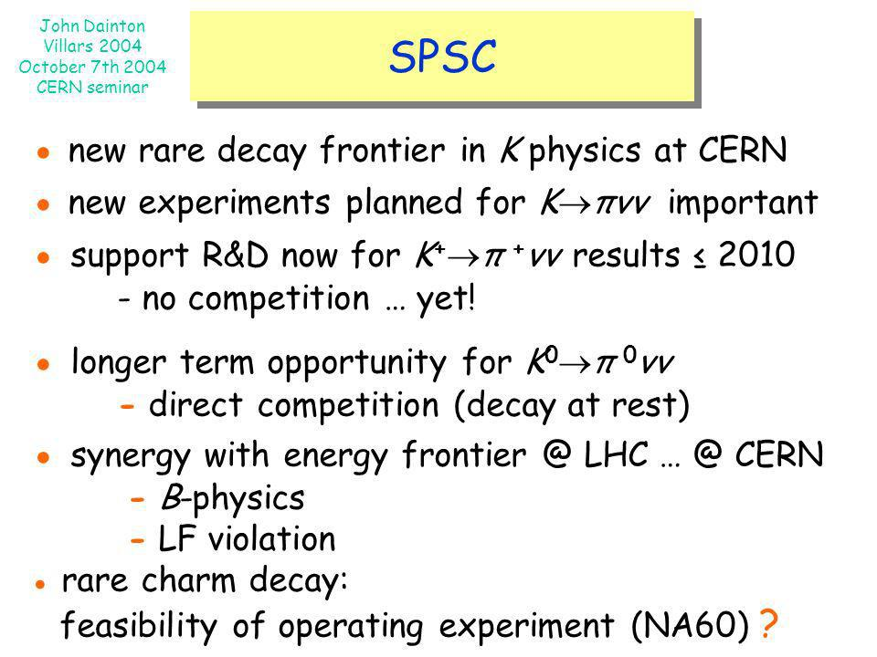 John Dainton Villars 2004 October 7th 2004 CERN seminar SPSC new rare decay frontier in K physics at CERN new experiments planned for K πνν important