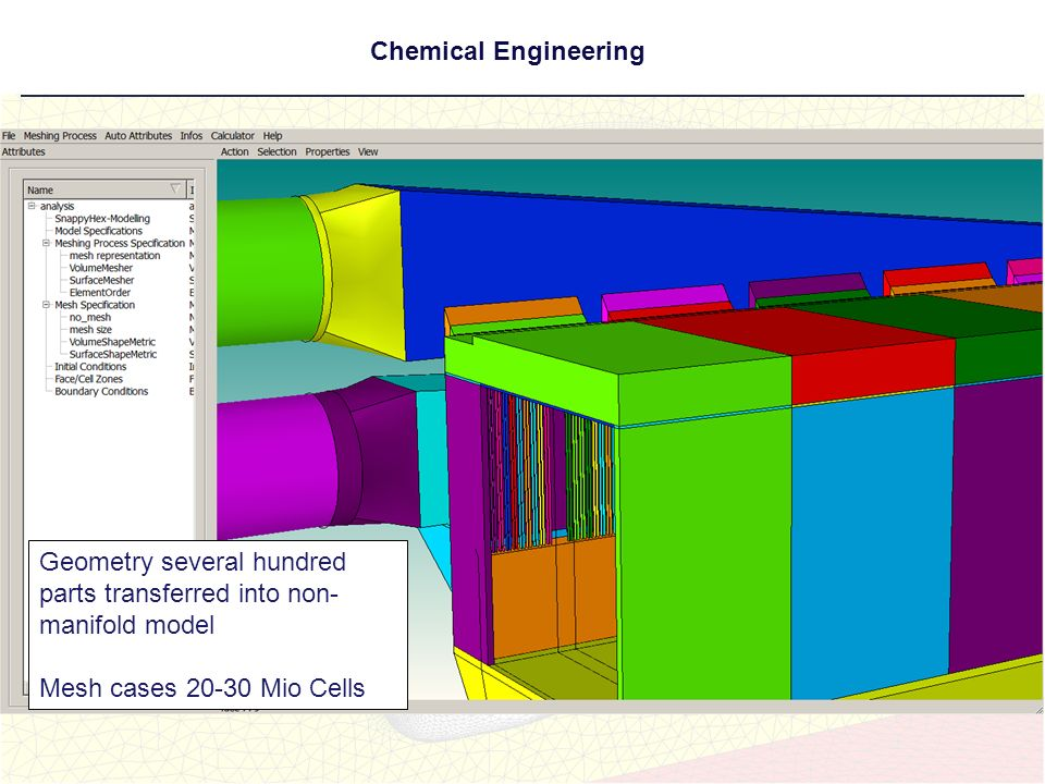 Chemical Engineering Rel Geometry several hundred parts transferred into non- manifold model Mesh cases 20-30 Mio Cells