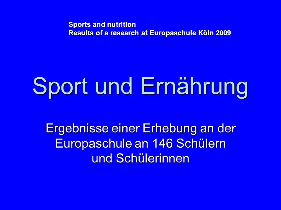 Sport und Ernährung Ergebnisse einer Erhebung an der Europaschule an 146 Schülern und Schülerinnen Sports and nutrition Results of a research at Europaschule Köln 2009