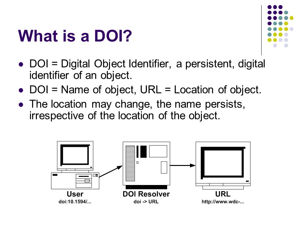 What is a DOI. DOI = Digital Object Identifier, a persistent, digital identifier of an object.