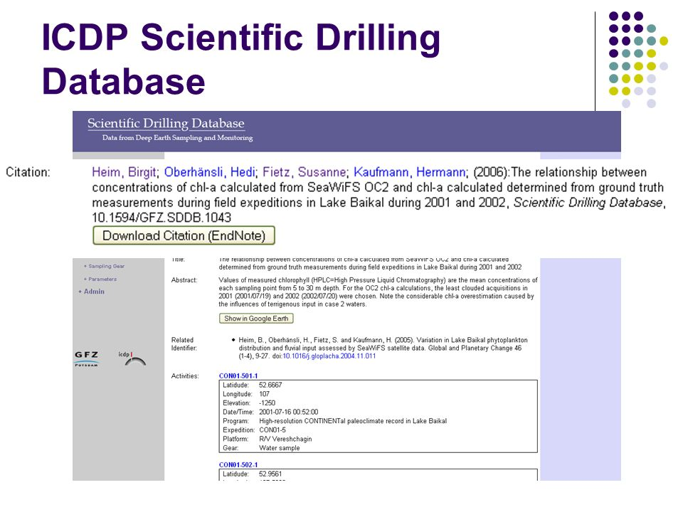 ICDP Scientific Drilling Database
