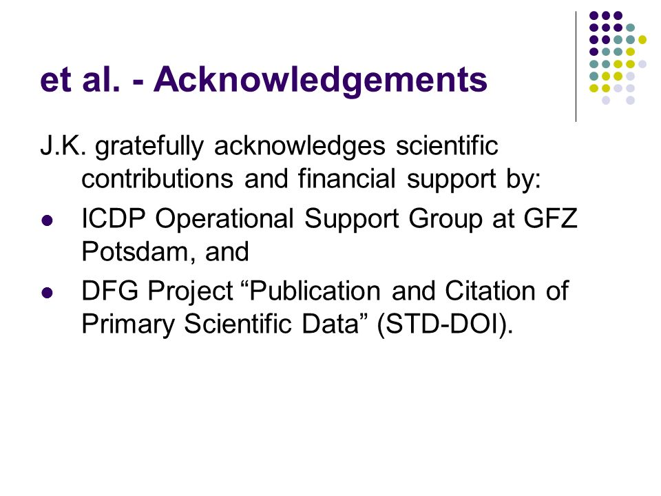 et al. - Acknowledgements J.K. gratefully acknowledges scientific contributions and financial support by: ICDP Operational Support Group at GFZ Potsda