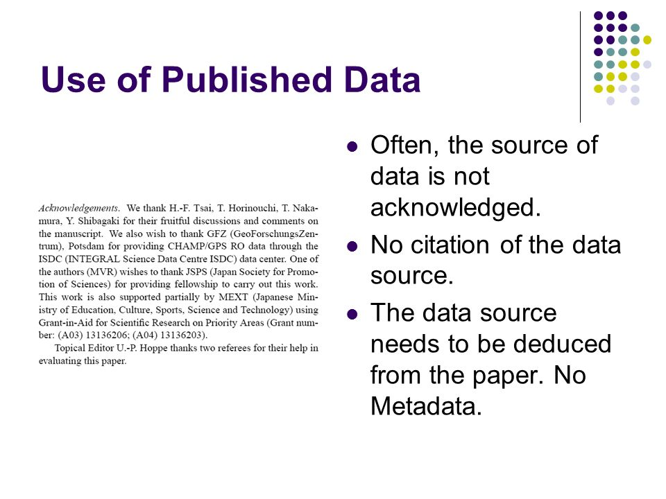 Use of Published Data Often, the source of data is not acknowledged.