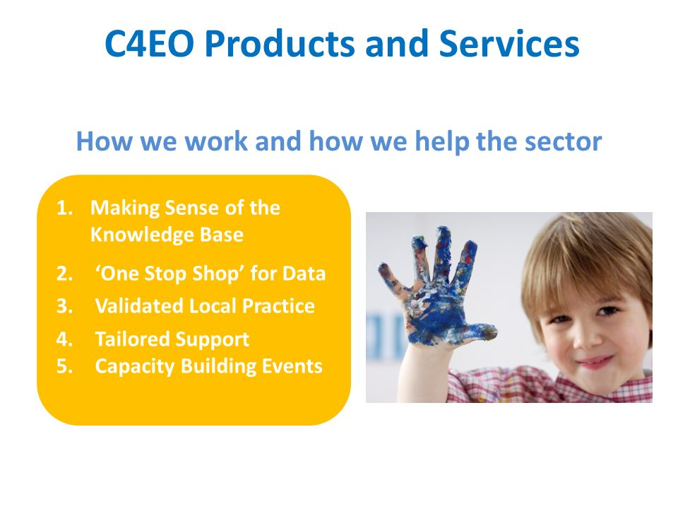 C4EO Products and Services How we work and how we help the sector 1.Making Sense of the Knowledge Base 2. One Stop Shop for Data 3. Validated Local Pr
