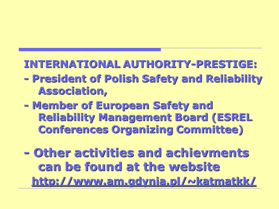 INTERNATIONAL AUTHORITY-PRESTIGE: - President of Polish Safety and Reliability Association, - Member of European Safety and Reliability Management Boa