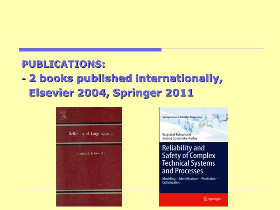 PUBLICATIONS: - 2 books published internationally, Elsevier 2004, Springer 2011 Elsevier 2004, Springer 2011
